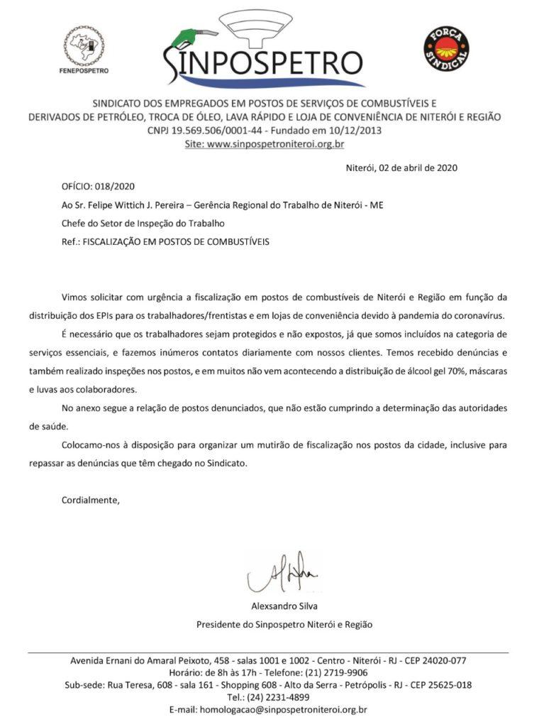 SINPOSPETRO Niterói -Ofício Gerência Regional do Trabalho